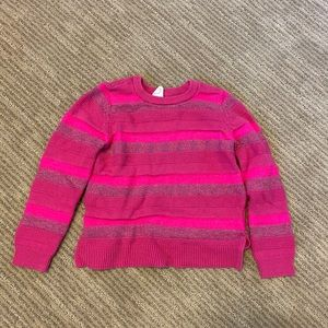 Gap Pink and Sparkle Striped Sweater